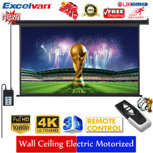 """100"""" -Inch 16:9 Electric Motorized HD Projector Projection Screen Cinema Theater 717643873464"""