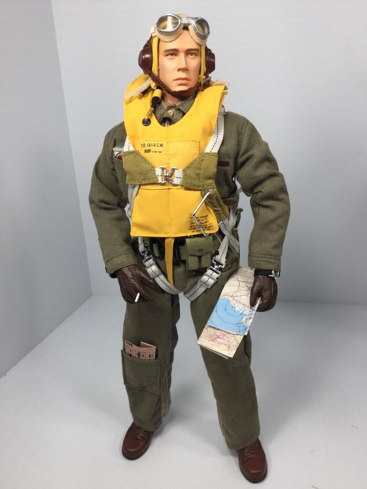 1 6 DRAGON US FIGHTER PILOT WW2 FULL PARACHUTE US AIR FORCE P-51 P-40 BBI DID RC