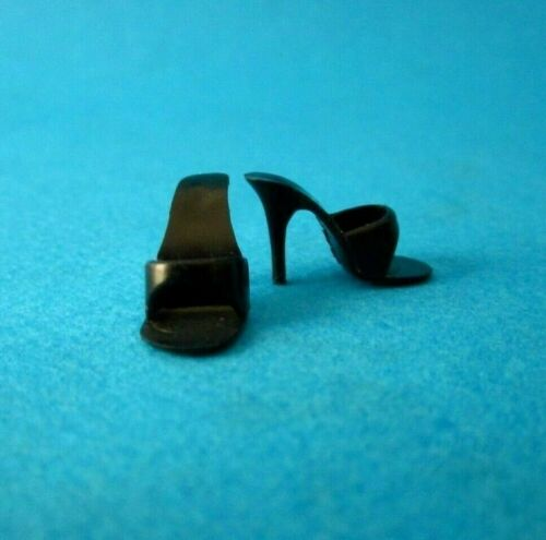 Vintage BARBIE BLACK OPEN TOE MULES Shoes Japan 971 Easter Parade 1959 MINT