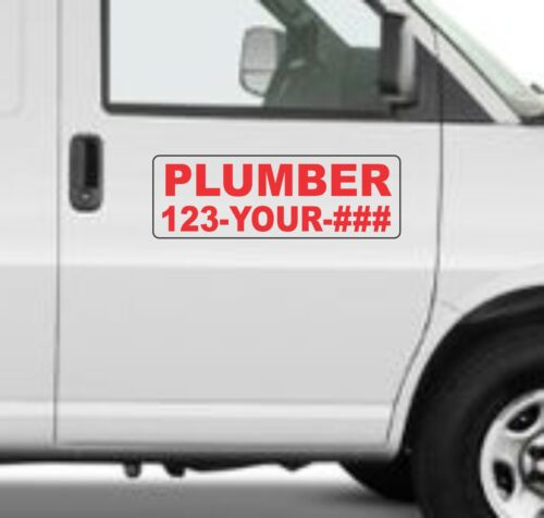 "Custom PLUMBER Magnetic Signs for Car Truck SUV 6/""x18/"" Phone or Web site"