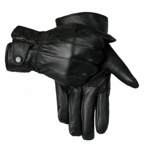 MENS TOUCH SCREEN 100/% LEATHER GLOVES THERMAL LINED BLACK DRIVING WINTER GIFT
