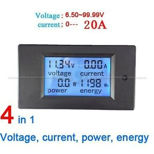 20A 120V LCD Digital Voltage Watt Current Power Meter Ammeter Voltmeter Monitor