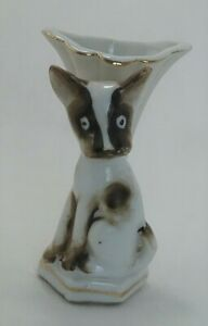 Vintage-Porcelain-Hand-Painted-TRICO-Vase-Nagoya-Japan-Surprised-Puppy-Dog