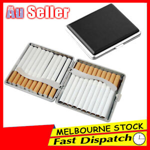 Stainless Steel PU Leather Cigar Cigarette Tobacco Case Pocket Pouch Holder Box 813498545959