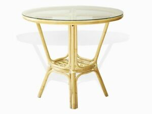 Image Is Loading Pelangi Natural Rattan Wicker Round Dining Table Glass