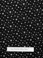 Christmas Fabric - Silver Metallic Snowflakes On Black - Rjr Yard