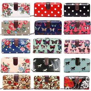 Designer-Oilcloth-Zipper-Purse-Folded-Wallet-Leather-Coin-Clutch-Long-Hand-Bag