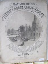 Vintage Print,MAY GOD BLESS LITTLE CHURCH,Music Scored,1870