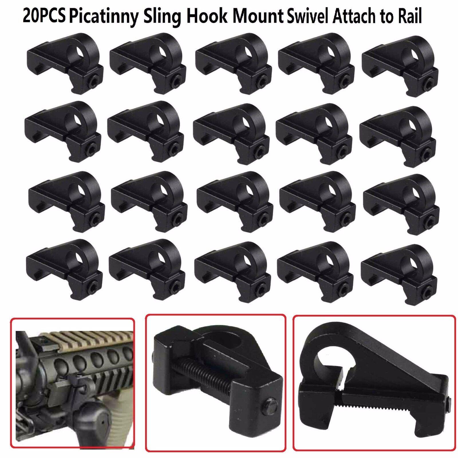 20 PCS Set Aluminum Tactical Picatinny Sling Hook Mount Swivel Attach to Rail