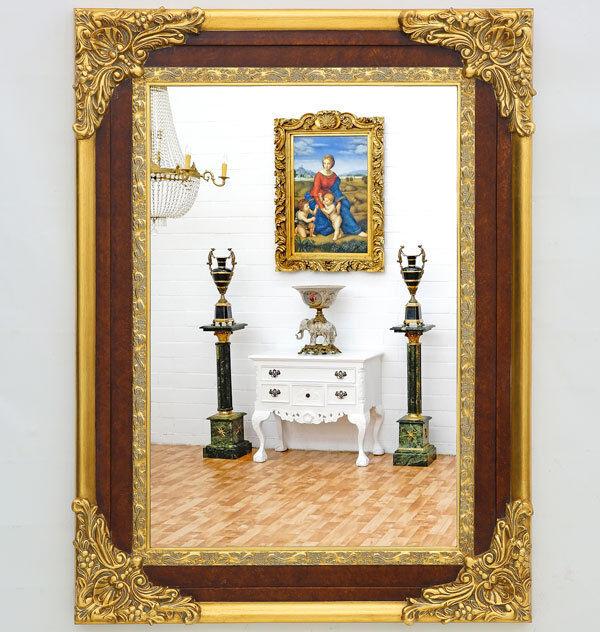 WANDSPIEGEL 120x90cm, ANTIK braun-Gold, SPIEGEL HOCH-und QUERAUFHÄNGUN möglich