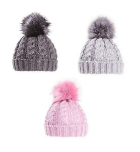 28dfbbf379d Ladies Cable Knit Bobble Hat With POM POM Chunky Winter Beanie Pink ...