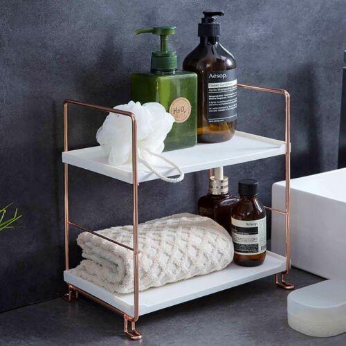 2 Tiers Kitchen Bathroom Countertop Shelf Corner Storage Rack Organizer Metal Home Garden Bath