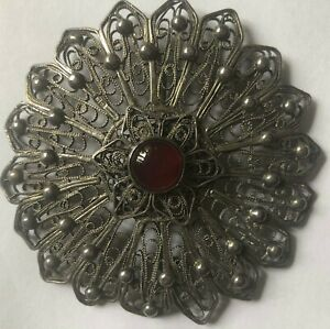 Huge-filigree-silver-brooch-set-with-an-orange-stone-cornelian