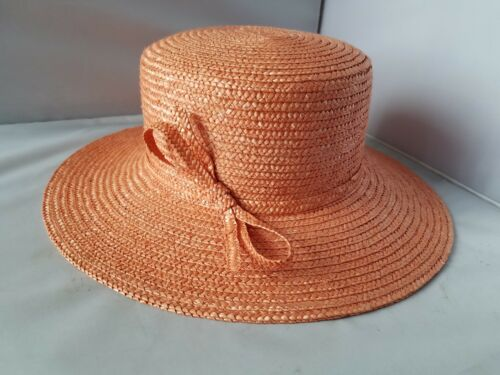 Betmar New York Women's Hat Coral Pink Straw Natural Beach Summer Sun Casual Bow