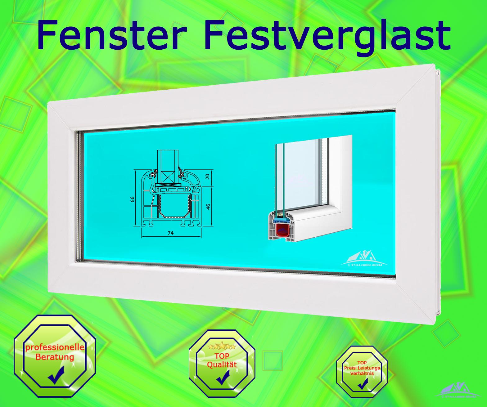Kunststofffenster Festverglast im Blendrahmen  900 x 700 Breite x Höhe in mm