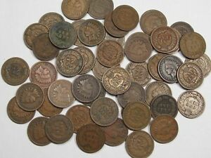 1900-1908-Indian-Head-Penny-Roll-50-Full-Date-Coins-Mixed-Date-Lot