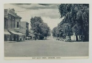 Postcard-East-Main-Street-Leesburg-Ohio-Old-Cars-1947