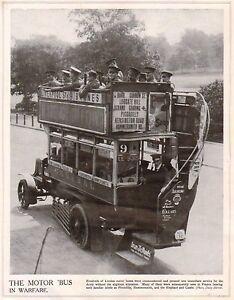 1914 Imprimé Première Guerre Mondiale ~ Londre Moteur Bus Commandeered par' qSCOuRA7-09091728-386438053