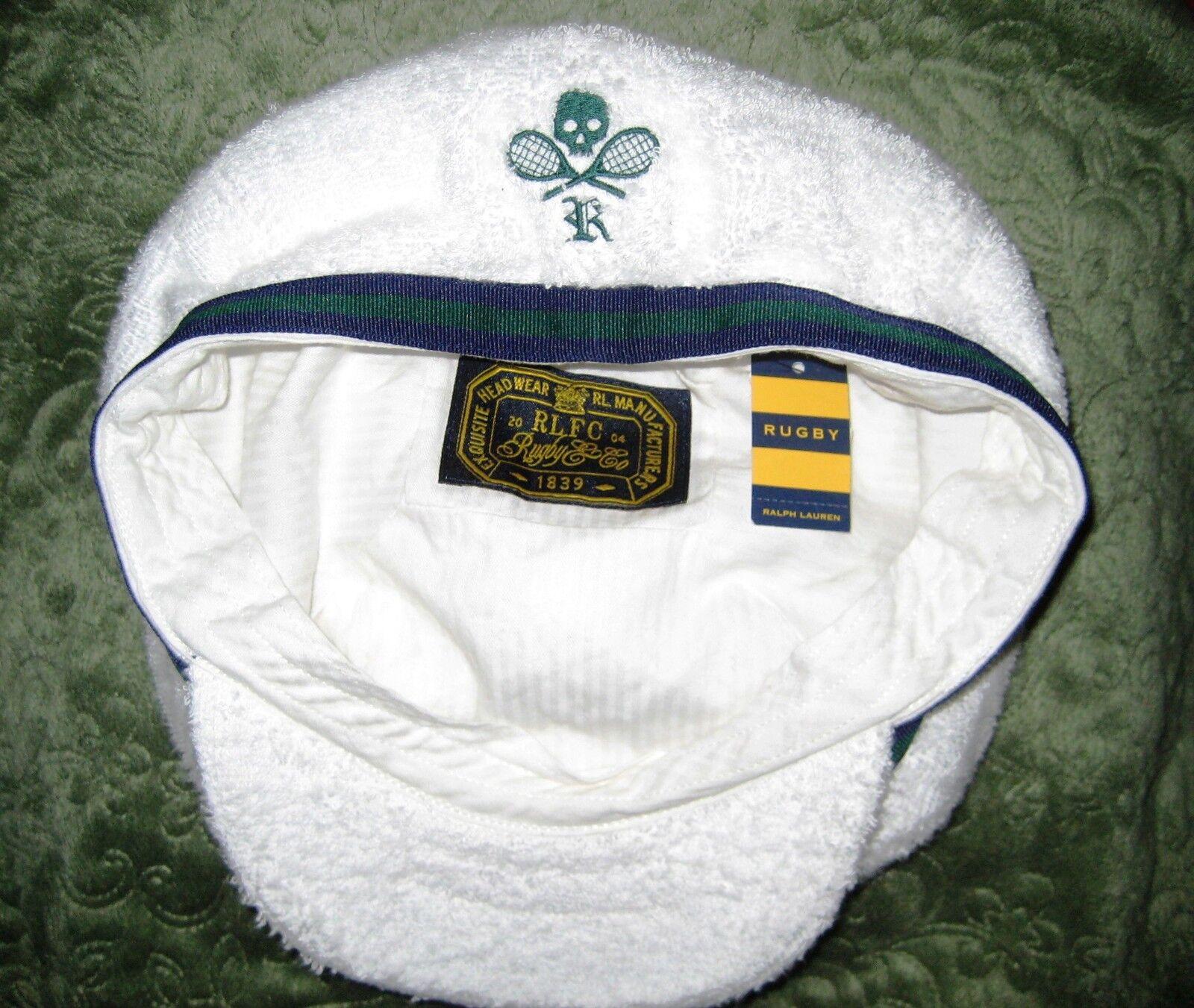 RUGBY Ralph Cap Lauren Terry Newsboy Golf Cap Ralph Skull & Tennis Crossbones NWT M/L 154d24