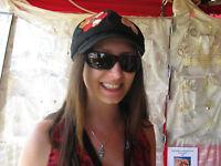 Grace Hats Juhi Casquette Hat Cap Floral Applique Casquette Black Teal Os