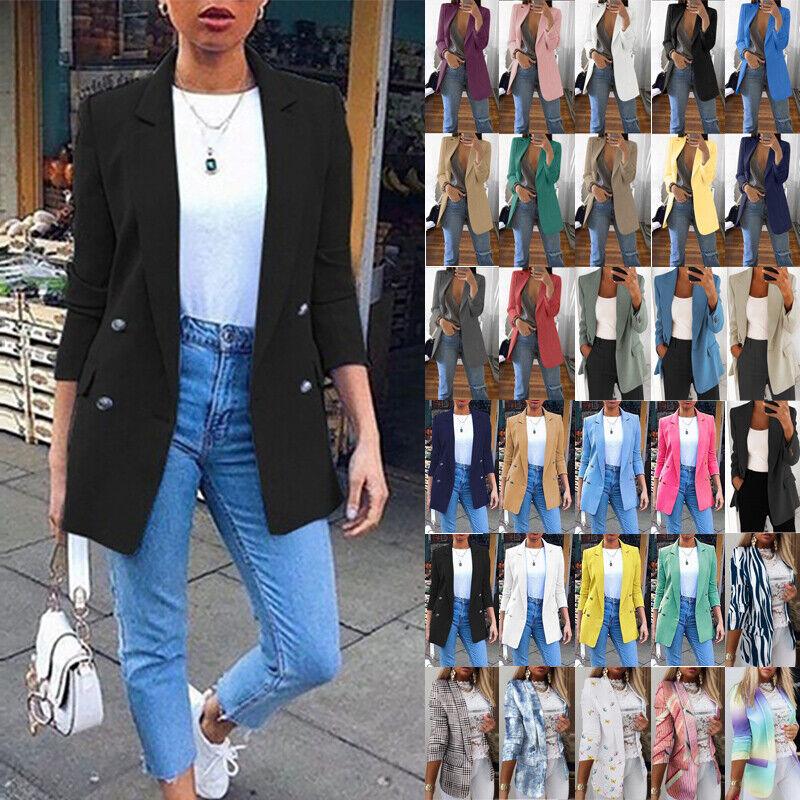 Womens Slim Fit Blazer Suit Jacket Ladies OL Work Office Formal Coat Outwear Top