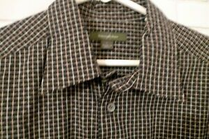 Mens-L-Ermenegildo-Zegna-Plaid-Long-Sleeved-Dress-Cotton-Shirt-Black-Gold-ITALY