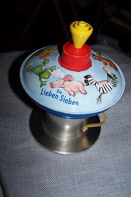 """Blechspielzeug Spielzeug Die Spiegelburg HÜbscher Brummkreisel Motiv """" Die Lieben Sieben """" Reine WeißE"""