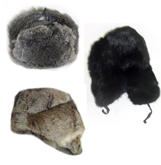 Buy Real Rabbit Fur Russian Winter Hat Ushanka L Black online  40a23fd071a