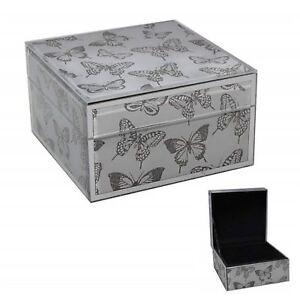 Silver Glitter Butterflies Jewellery Box Glass Jewelry Storage Decorative Boxes Ebay