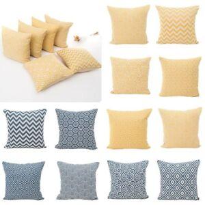 Yellow Blue Geometric Polyester Pillow
