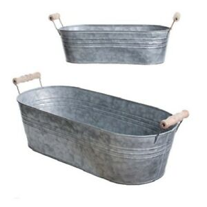 Galvanized-Oval-Buckets-with-wooden-handles-Set-of-Two-Planters-or-Organizers