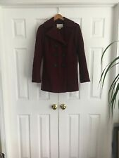New Womens Bar Lll Beautiful Wool Blend Double Breasted Mini Coat Burgundy S