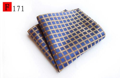 Rose Bleu or Argent Grid Check Patterned Poche Carré handerchief