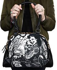 Liquorbrand Retro Girl in Graveyard Halloween Leopard Print Vegan Black Purse