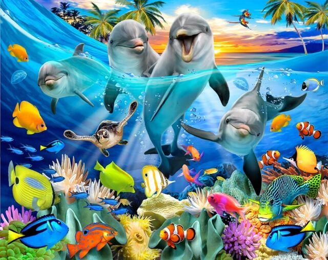 Playful Dolphins Sea Life Blanket Beach Towel Bath Towel 54 x 68 Huge Towel