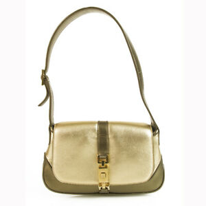 ce01ae97f Gucci Mini Jackie-O Gold   Bronze Leather Flap Top Shoulder Evening ...
