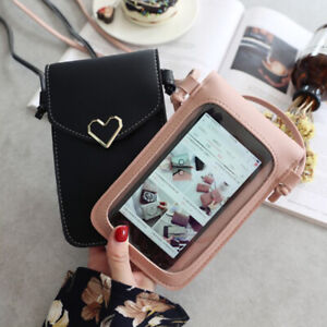 Touch-Screen-Cell-Phone-Purse-Smartphone-Wallet-Leather-Shoulder-Strap-Handbag