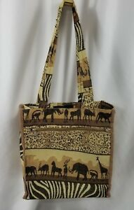 f9b7511311a8af Vintage Safari Print Tapestry Multi-Color Tote Bag with attached ...