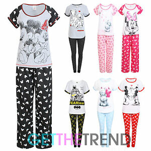 DISNEY Minnie Mickey Mouse Manica Corta Cotone Pigiama Pjs Set Donna