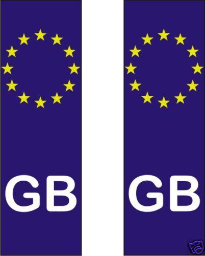 GB EURO Sticker X 2 Decal  Numberplate UK Great Britain 11cmx3cm