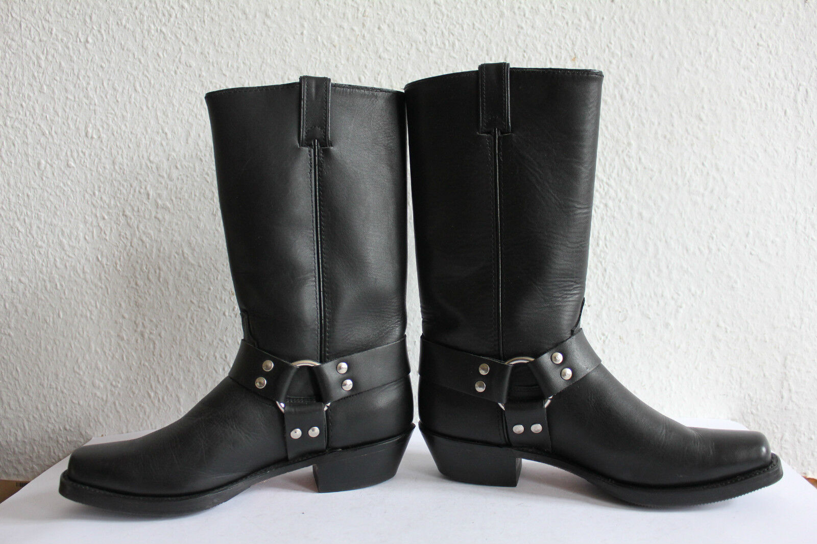 Code west Biker Bottes COW-BOY high bottes véritable cuir noir us 9 M made in usa