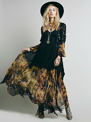 Bohemia Long Sleeve Flower Women's Evening Prom Gown Maxi Ombre Long Party Dress