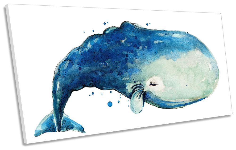 Blau Whale Bathroom PANORAMIC CANVAS WALL ARTWORK Print Art