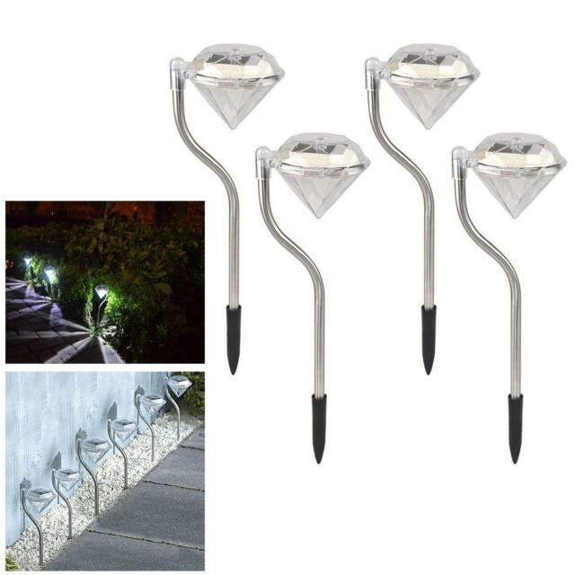 Diamond Stainless Steel Solar Powered Lights x4 LED outdoor Garden Lantern