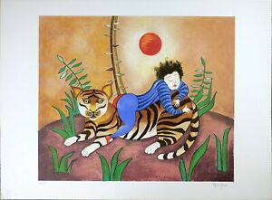 Vintage Print, Signed Serigraph by Maia Berger 'Le Tigre', Limited Edition #225