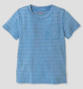 Boys Cat & Jack Short Sleeve Textured Striped Pocket T-Shirt Select Size (1914)