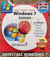 Windows 7 (sp1) 32 & 64 Bit Reinstall Install Dvd Disc