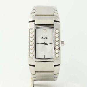 NEW-Misaki-Wristwatch-Lustre-Pearl-Quartz-Battery-Stainless-Steel-Chain-Watch