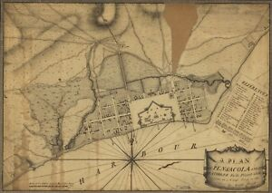 Map Of West Florida Cities.Details About A4 Reprint Of American Cities Towns States Map Pensacola West Florida