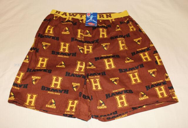 Hawthorn Hawks AFL Mens Brown Printed Cotton Boxer Sleep Shorts Size L New